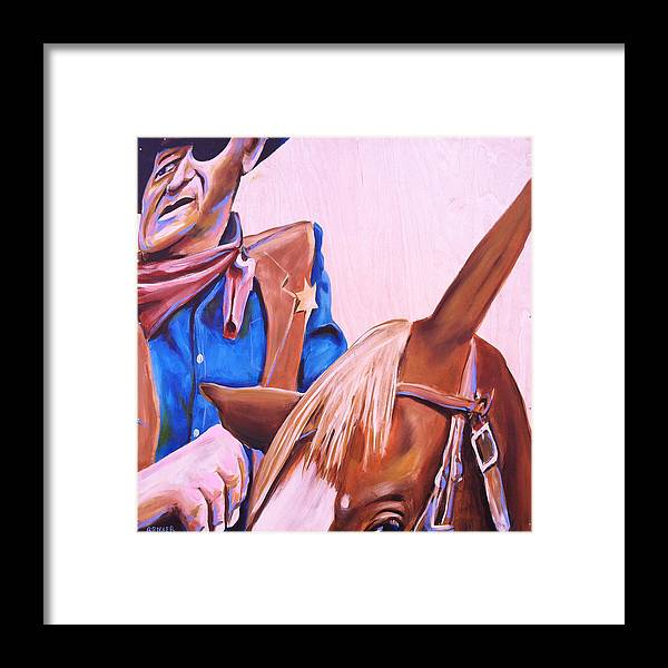 John Framed Print featuring the painting Rooster by Buffalo Bonker