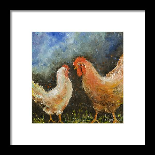 Rooster Framed Print featuring the painting Rooster Gets Last Word by Pati Pelz