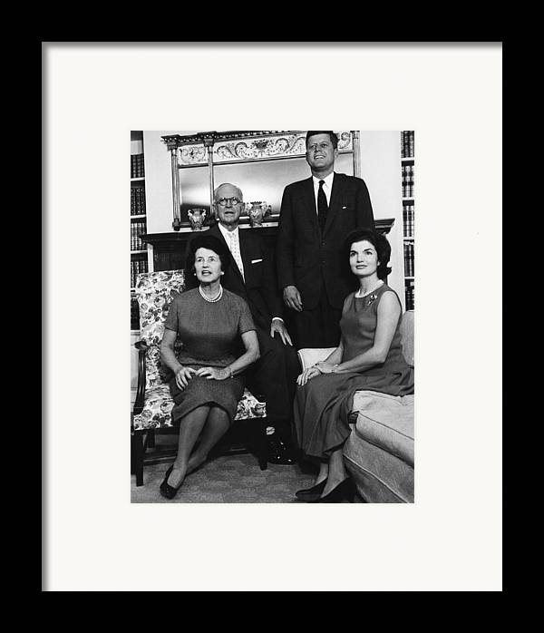 Books Framed Print featuring the photograph Rose Kennedy, Joseph P. Kennedy, John by Everett
