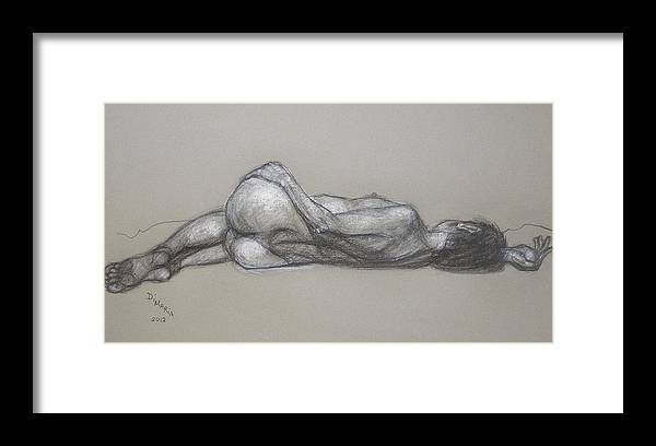 Realism Framed Print featuring the drawing Rose Reclining by Donelli DiMaria