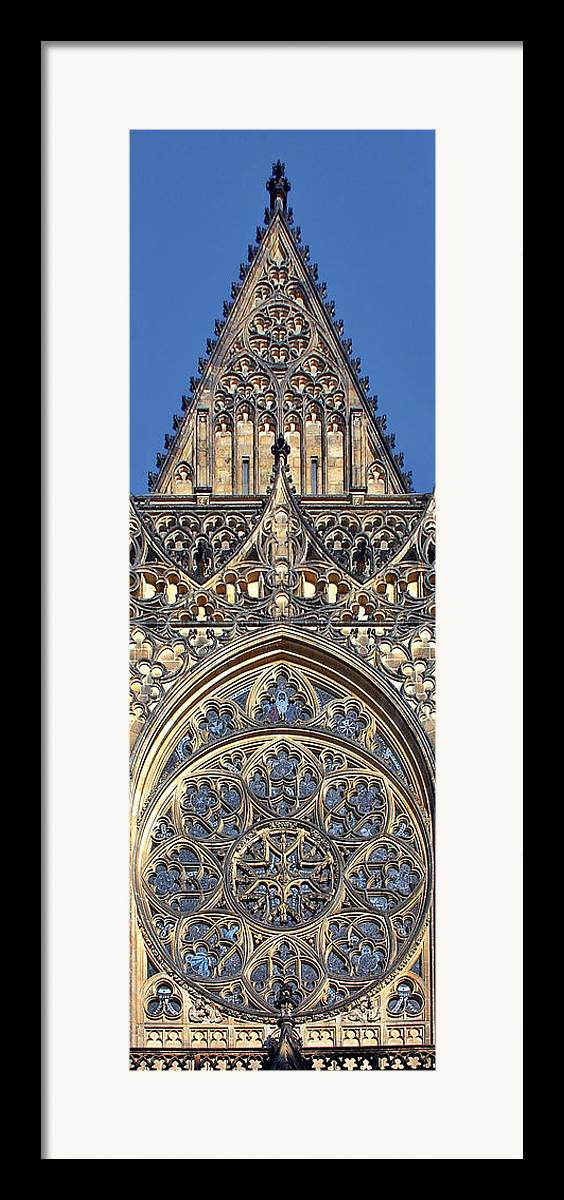 Rosette Framed Print featuring the photograph Rose Window - Exterior Of St Vitus Cathedral Prague Castle by Christine Till