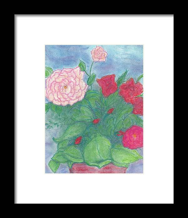 Floral - Flowers - Pink And Red Roses Framed Print featuring the pastel Roses In A Vase by Jami Cirotti