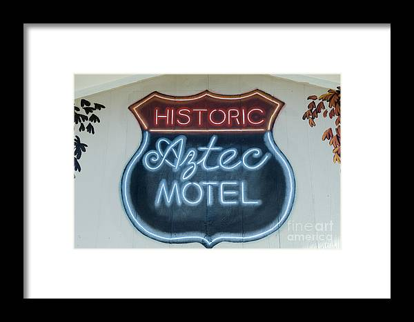Wurlitzer Framed Print featuring the photograph Route 66 Aztec Hotel Mural by Bob Christopher
