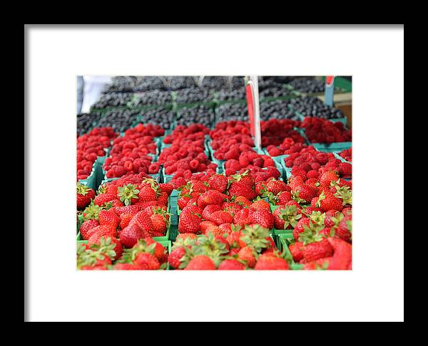 Background Framed Print featuring the photograph Rows Of Berries At Market by Kim French
