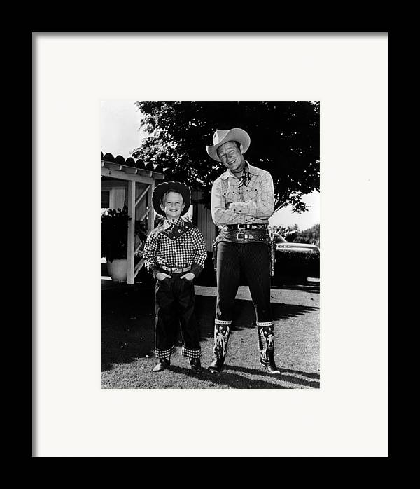 1950s Framed Print featuring the photograph Roy Dusty Rogers Jr., And His Father by Everett