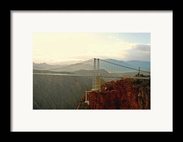 Suspension Bridge Framed Print featuring the photograph Royal Gorge Bridge Colorado - Take A Walk Across The Sky by Christine Till