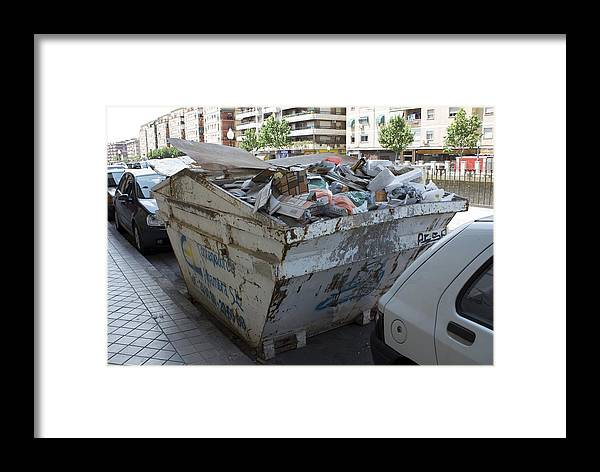 Building Framed Print featuring the photograph Rubbish In A Skip by Mark Williamson