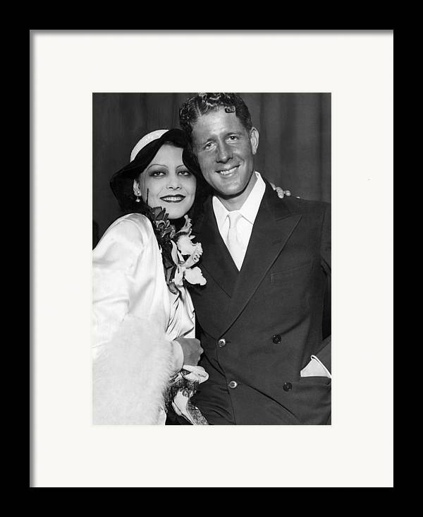 1930s Framed Print featuring the photograph Rudy Vallee Right, And His Wife, Fay by Everett