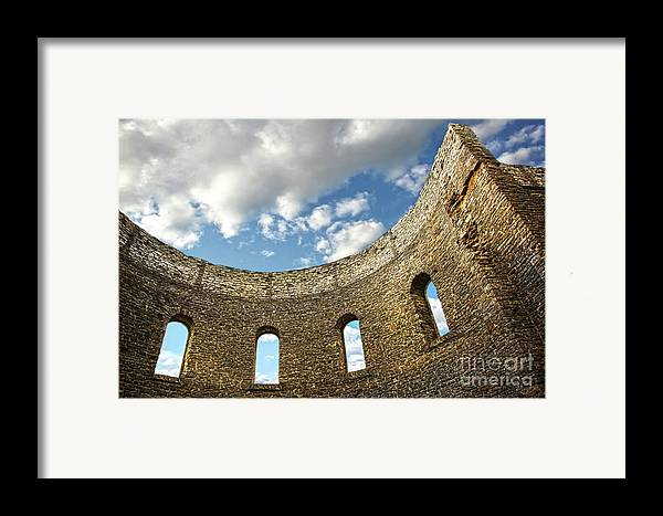 Architecture Framed Print featuring the photograph Ruin Wall With Windows Of An Old Church by Sandra Cunningham