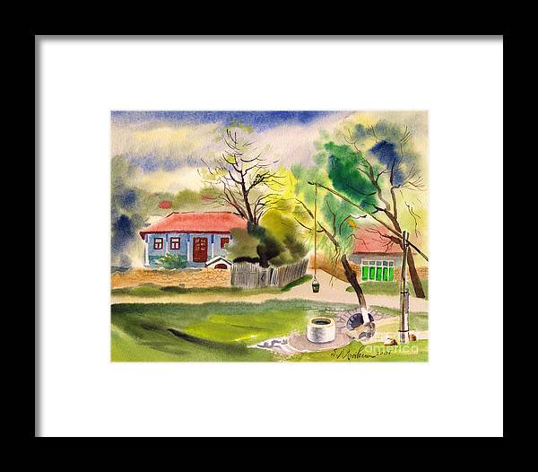 Vasile Movileanu Framed Print featuring the painting Rustic Landscape by Vasile Movileanu