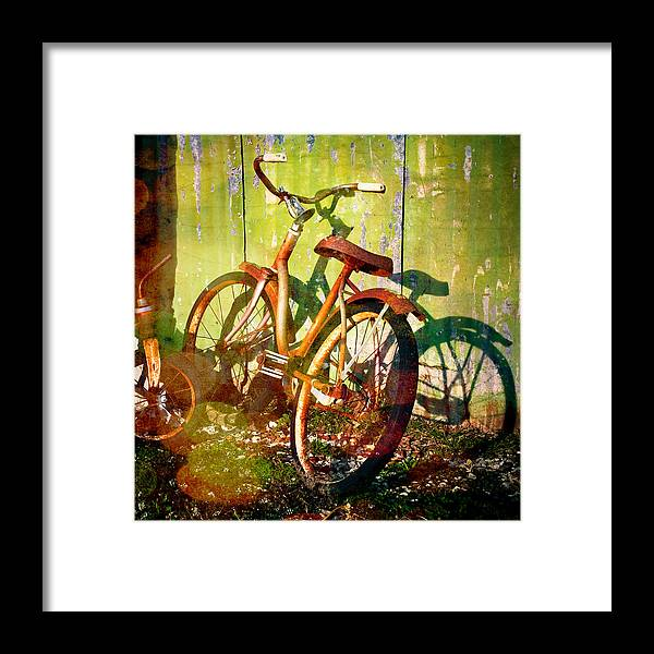 Rusty Bikes Framed Print featuring the photograph Rusty Bikes by Sonja Quintero