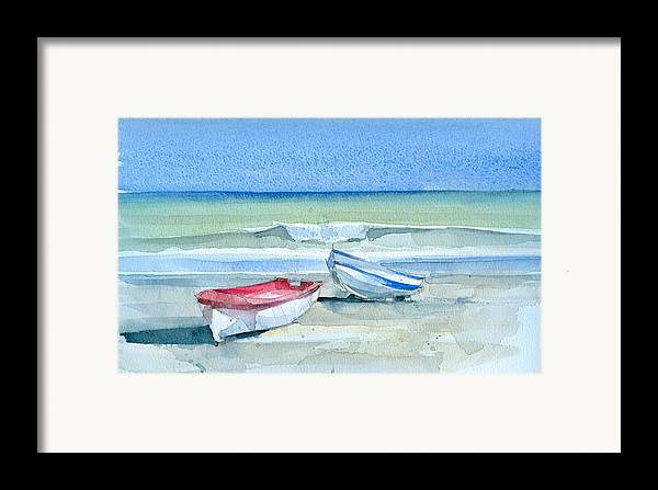 Sea Framed Print featuring the painting Sabinillas Fishing Boats by Stephanie Aarons