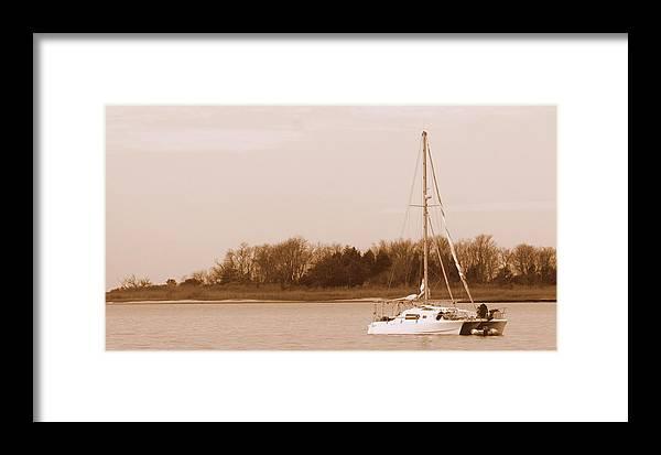 Sepia-tone Framed Print featuring the photograph Sailboat On Chesapeake by Theresa Johnson