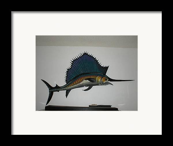 Sailfish Framed Print featuring the mixed media Sailfish by Val Oconnor