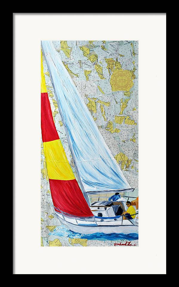 Sailing Framed Print featuring the painting Sailing From The Charts by Michael Lee