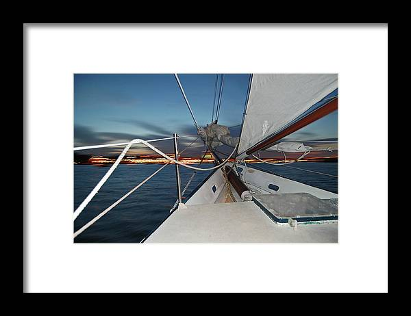 Sailing Framed Print featuring the photograph Sailing in the Bay by Jim and Kim Shivers