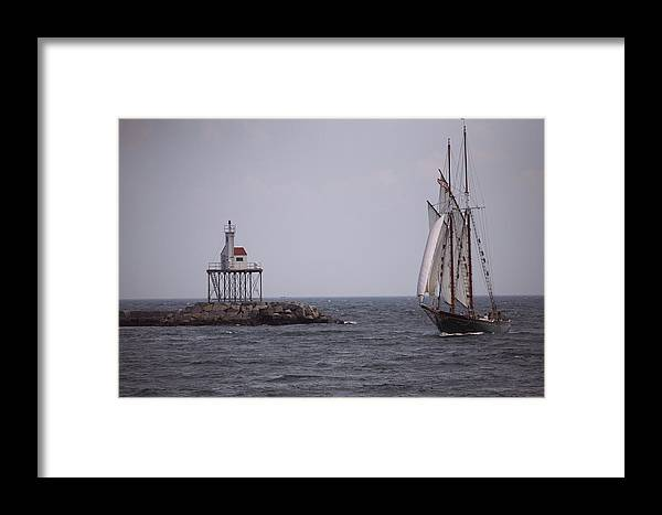 Day Framed Print featuring the photograph Sailing Vessel Entering Gloucester by Tim Laman