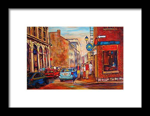 Streetscene Framed Print featuring the painting Saint Paul Street Montreal by Carole Spandau