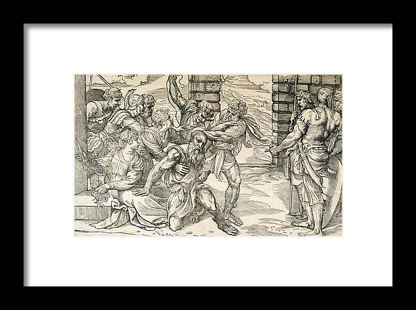 Samson And Delilah Framed Print featuring the drawing Samson And Delilah by