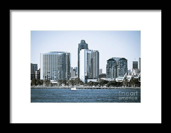 2012 Framed Print featuring the photograph San Diego Downtown Waterfront Buildings by Paul Velgos