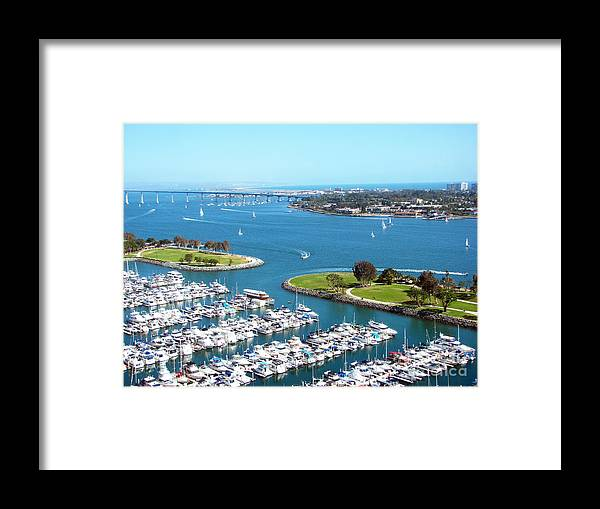 Ocean Framed Print featuring the photograph San Diego Marina and Bay by Cedric Hampton