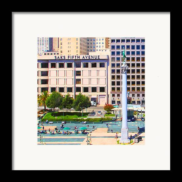 San Francisco Framed Print featuring the photograph San Francisco - Union Square - 5d17938 - Square - Painterly by Wingsdomain Art and Photography