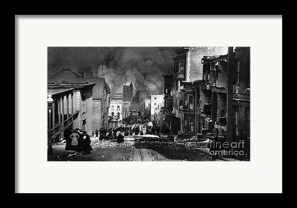 San Francisco Framed Print featuring the photograph San Francisco Burning After 1906 by Science Source