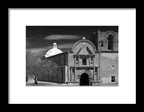 B&w Framed Print featuring the photograph San Jose De Tumacacori by Sandra Bronstein