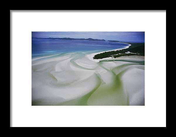 Whitsunday Islands National Park Framed Print featuring the photograph Sandbars Create An Interesting Pattern by Paul Chesley