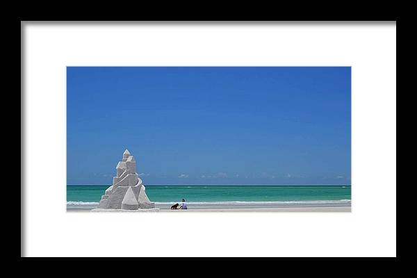 Sandcastle On Lido Beach Framed Print featuring the photograph Sandcastle by Gwen C