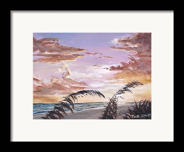 Sunset Framed Print featuring the painting Sanibel Island Sunset by Jack Skinner