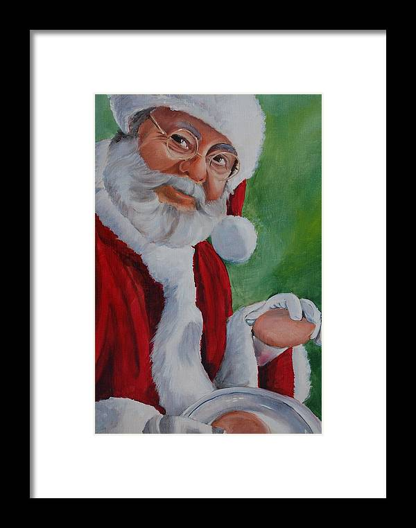 Christmas Framed Print featuring the painting Santa 2012 by Teresa Smith