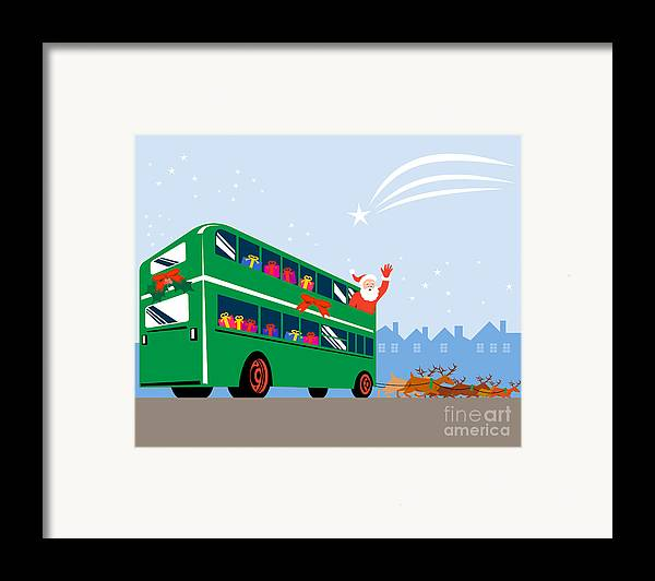 Double Decker Framed Print featuring the digital art Santa Claus Double Decker Bus by Aloysius Patrimonio