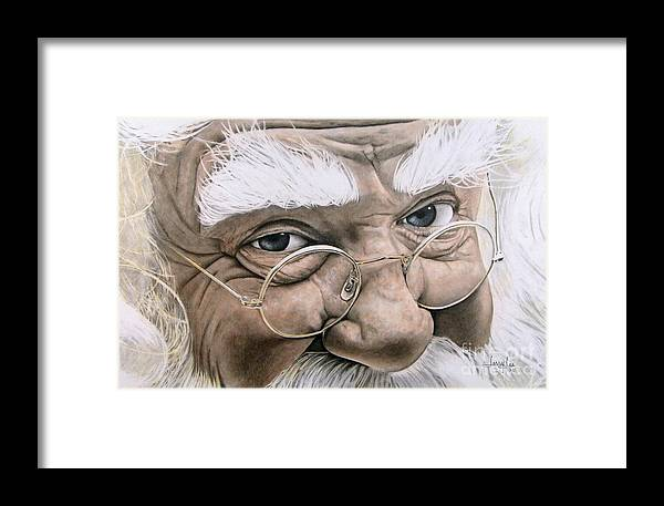 Santa Framed Print featuring the drawing Santa by Jerry Lee