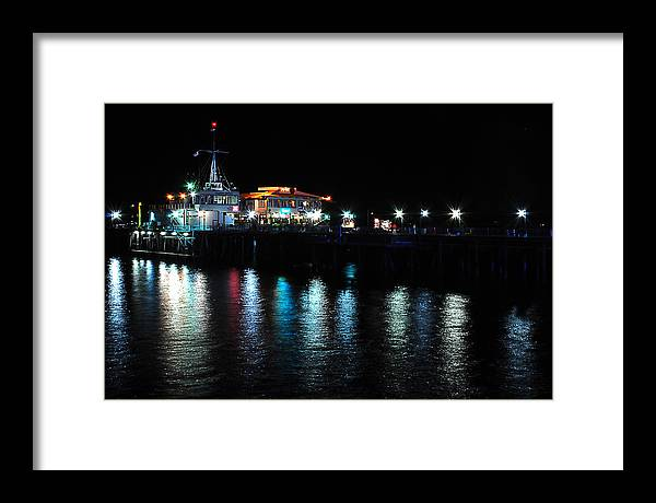 Water Framed Print featuring the photograph Santa Monica Pier After Dark by Yulia