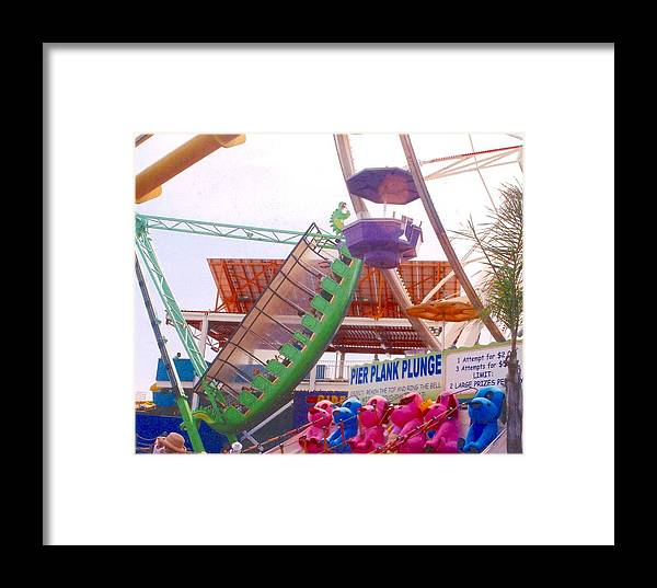 Santa Monica Pier California Rides Rollercoaster Games Animals Pink Pastel Dragon Framed Print featuring the photograph Santa Monica Pier by Rust Dill
