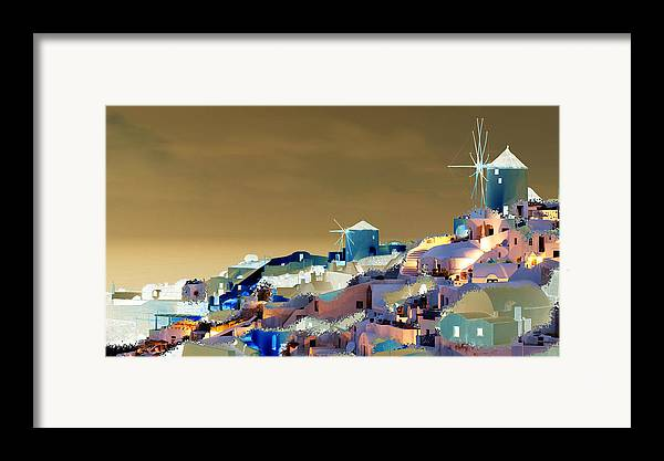 Nature Framed Print featuring the digital art Santorini by Ilias Athanasopoulos