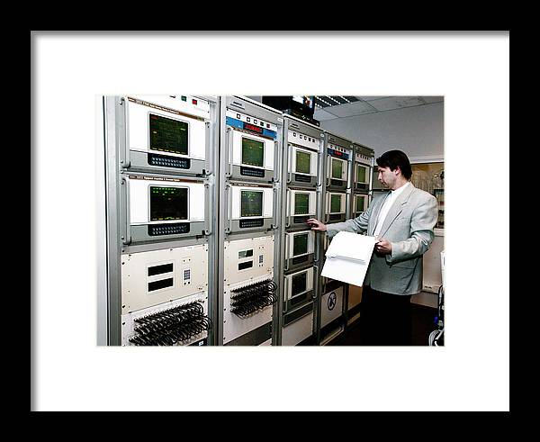 Monitor Framed Print featuring the photograph Satellite Control Room by Ria Novosti
