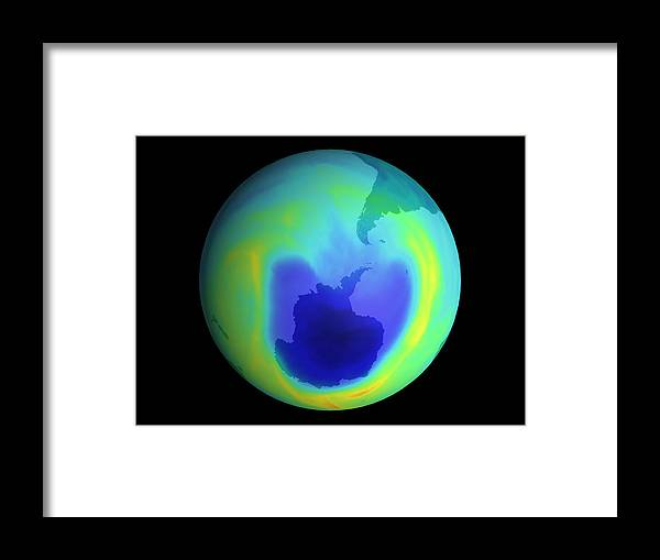 Ozone Depletion Framed Print featuring the photograph Satellite Map Of Antarctic Ozone Depletion, 1999 by Nasa