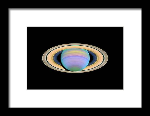Astronomical Framed Print featuring the photograph Saturn, Ultraviolet Hst Image by Nasaesastscie.karkoschka, U.arizona