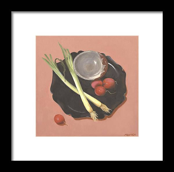 Still Life Framed Print featuring the painting Scallions And Radishes by Meredith Dytch