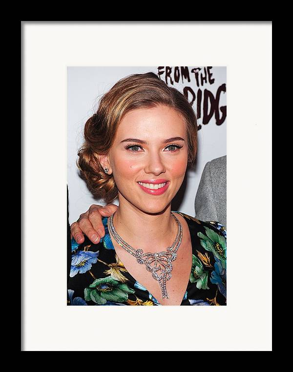 Scarlett Johansson Framed Print featuring the photograph Scarlett Johansson Wearing Van Cleef & by Everett