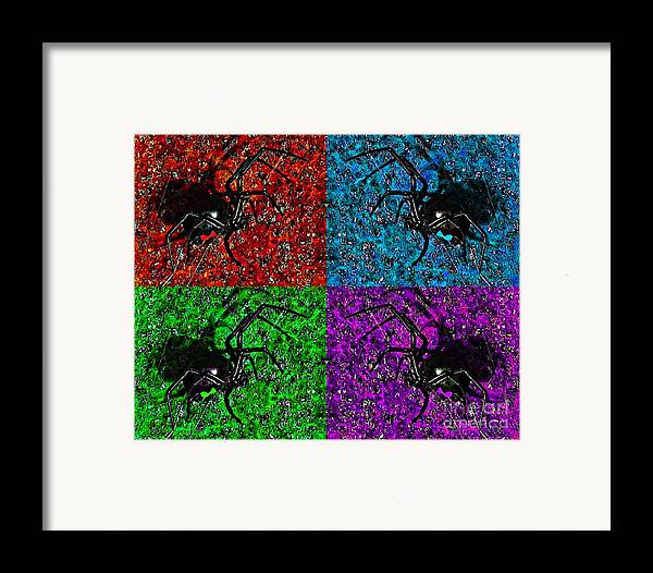 Black Widow Spider Framed Print featuring the photograph Scary Spider Serigraph by Al Powell Photography USA