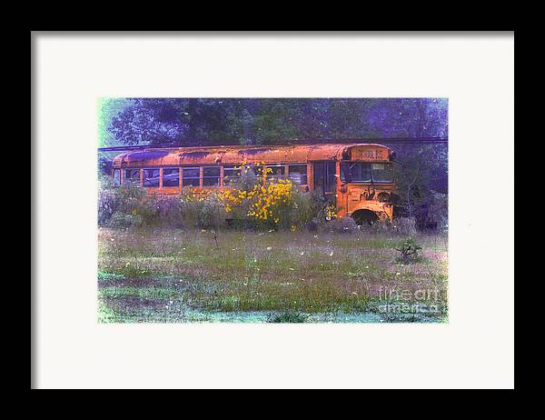 School Framed Print featuring the photograph School Bus Out To Pasture by Judi Bagwell