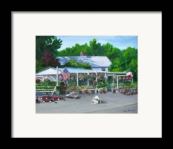 Farm Stand Framed Print featuring the painting Scimone's Farm Stand by Jack Skinner