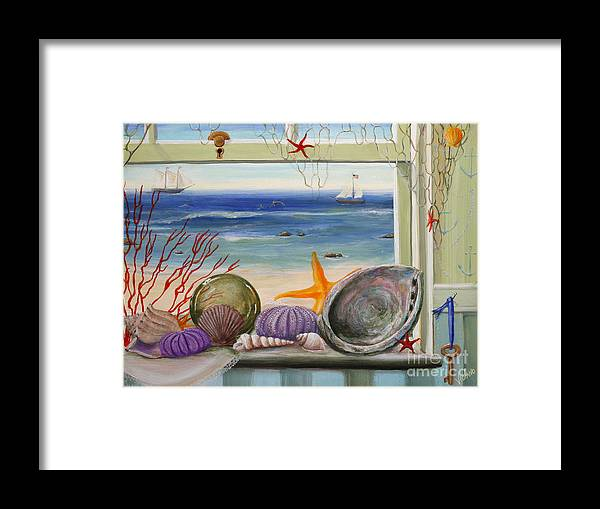 Ocean Framed Print featuring the painting Sea Cottage by Stella Violano