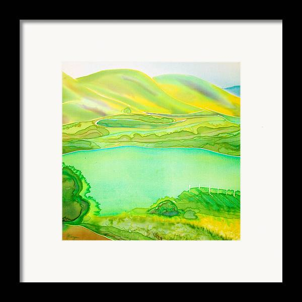Landscape Framed Print featuring the painting Sea Of Grass Waves Of Mustard by Jill Targer