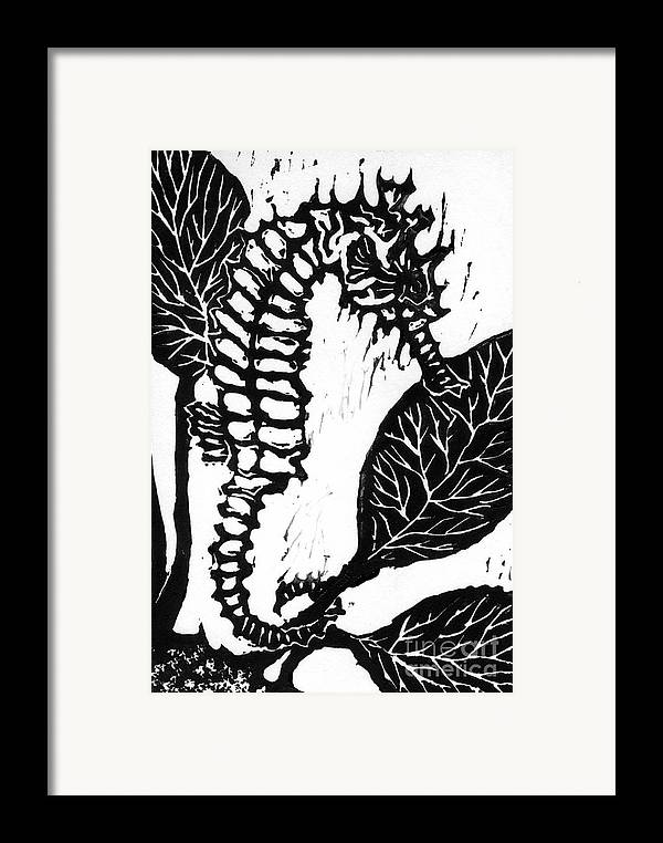 Lino Framed Print featuring the mixed media Seahorse Block Print by Ellen Miffitt