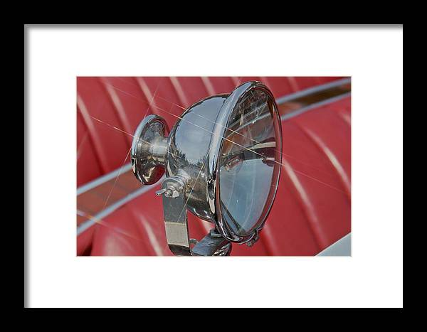 Chrome Framed Print featuring the photograph Search Light - Classic Boat by Steven Lapkin