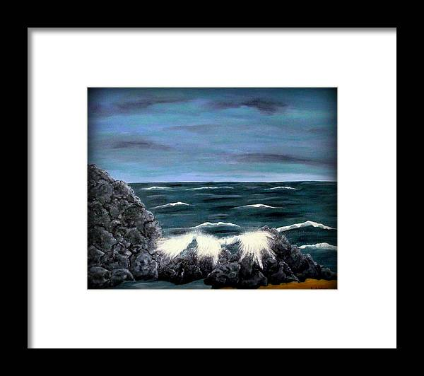 Seascape Framed Print featuring the painting Seascape1 by Sandy Wager